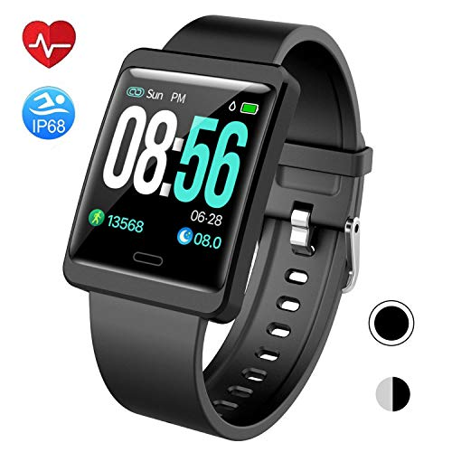 Mgaolo Smart Watch Fitness Tracker,Activity Tracker Smartwatch with Change Brightness Screen,IP68 Swimming Waterproof Fit Watch Wristband with Heart Rate Sleep Monitor for Android & iPhone (Black)