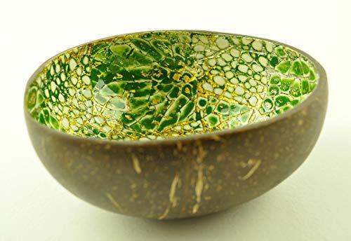 vnhomeware H027 Bol décoratif fait main en noix de coco, laqué et incrusté de coquille d'œuf, forme ronde naturelle, couleur vert/marron