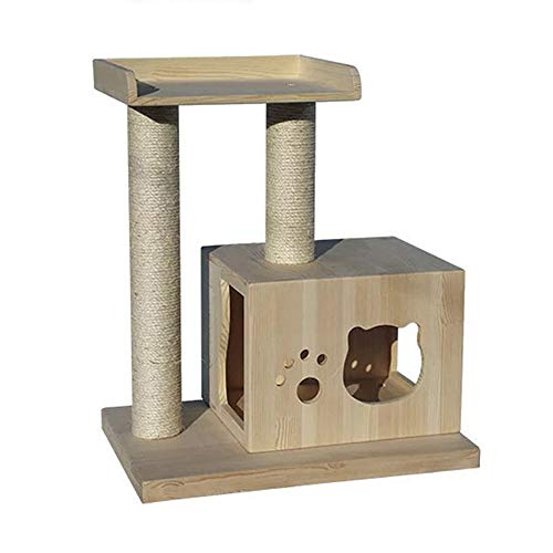 Cat Activity Trees Cat Play Tower Medium-Sized Solid Wood Cat Litter Sisal Cat Scratch Board Multi-Function Pet Cat Climbing Frame Play Toy Cat Cave Cat House (Color : Wood Color, Size : One Size)