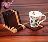 Creation India Craft Wooden Coasters for Cup with Stand Set of 4 for Office Table Tea Coasters Coffee Coasters for Home, Kitchen, Dining Table, Home Decorative Accessories