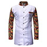 La primavera y el otoño de la moda de soporte de cuello de color a juego de la mitad de la longitud de los hombres pantalones de camisa de dos piezas Blanco blanco L