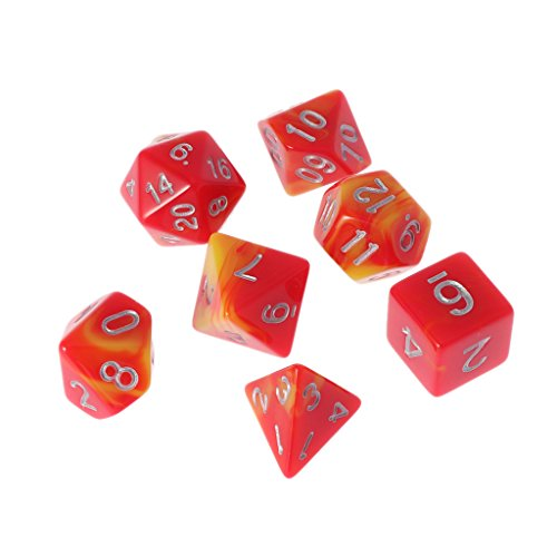 Mmnas 7-Würfel seitig D4 D6 D8 D10 D12 D20 Für Magic-The-Gathering D & D RPG Poly-Spielset