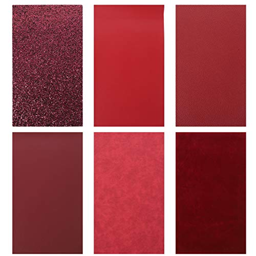 EXCEART 6pcs Red Wine Leather Sheets Valentines Day Wedding Craft Leather Craft Leather Fabric Sheet For Diy Jewelry Earring Hair Bows Sewings Sofa Handbag Decorations