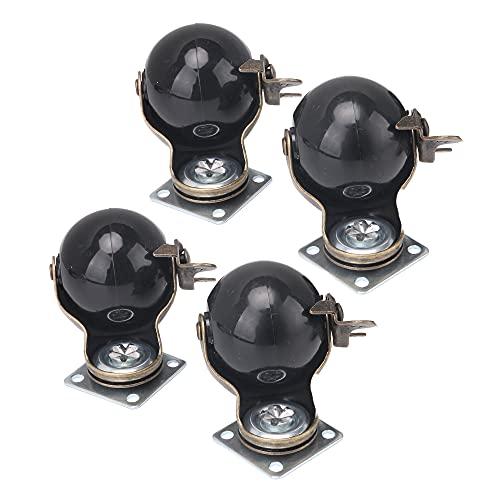 BQLZR Ruedas giratorias de bolas de 2 pulgadas, diámetro de la placa, 5 mm, con freno, paquete de 4
