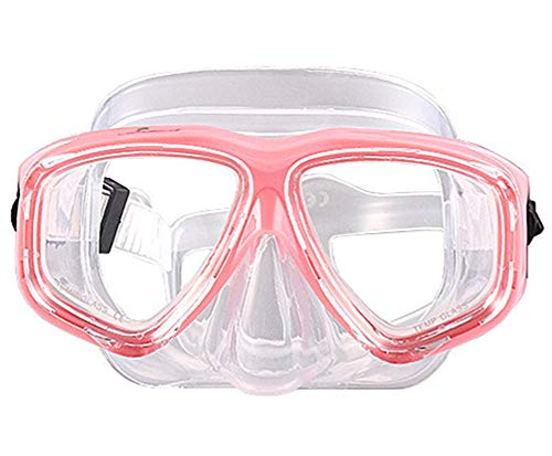 WOWDECOR Tauchmaske für Erwachsene und Kinder mit Kurzsichtigkeit Kurzsichtig, Schnorchelmaske Taucherbrille Dioptrin Dioptrien Korrektur, Pink und transparent (Different 2 Augen)