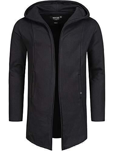 Indicode Brekstad, giacca da uomo oversize con cappuccio in 100% cotone, moderna, cardigan lungo cardigan da uomo, in cotone Nero S
