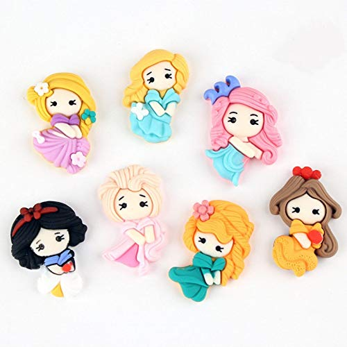 Yontree 15pcs Mixed Resin Flatback Cartoon Princess Charm Cute Ornaments DIY Phone Crafts Scrapbooking Decoration Jewelry Making.