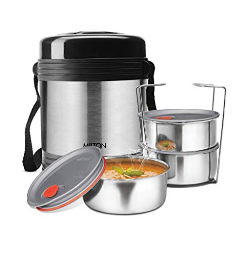 Milton Legend 3 Container Tiffin - Steel Plain 240ml (TS - 230_STEELPLAINCO)