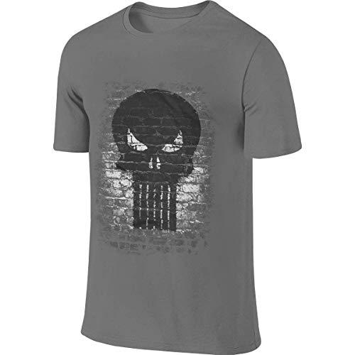 Men's Custom Novelty tee Shirt Punisher Brick Skull Logo Tshirt Camisetas y Tops(Large)