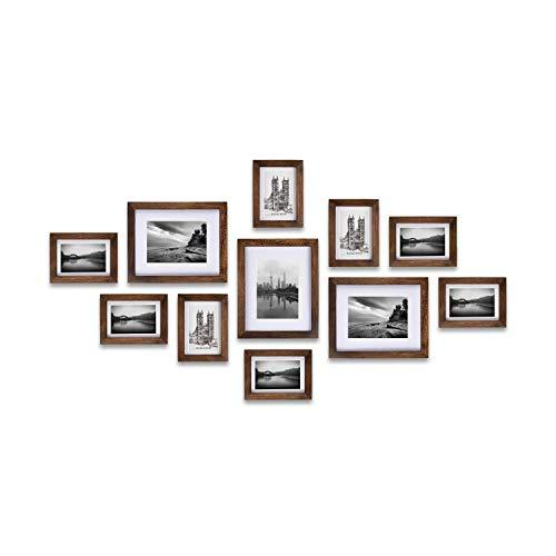 RAY&CHOW Karbonisiertes Schwarz (Rustikales Braun) Holz Bilderrahmen Wand Set- 11er- Glasscheibe- Mit Passepartout- 8er 13x18 und 3er 20x25 cm- Enthält hängende Hardware