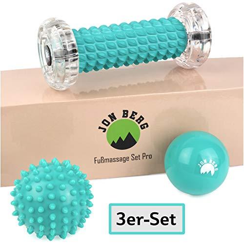 Jon Berg 3er Set zur Massage - Igelball, Faszienball & Faszienrolle klein - Lacrosse Ball, Noppenball und Fußmassageroller hart und weich, Stressreduzierung und Entspannung durch Triggerpunkt-Therapie