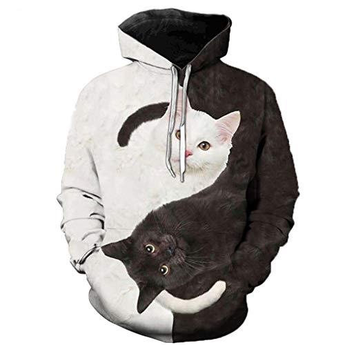Blusa para Mujer, Camiseta de Manga Larga Estampada con Gatos Casuales para Mujeres y Hombres, Sudadera con Capucha, Jersey de Invierno para Mujer (blanco-3XL)
