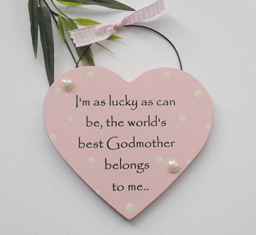 Corazón de Regalo con Alambre para Colgar de la Mejor Madrina del Mundo con la Mejor Madrina