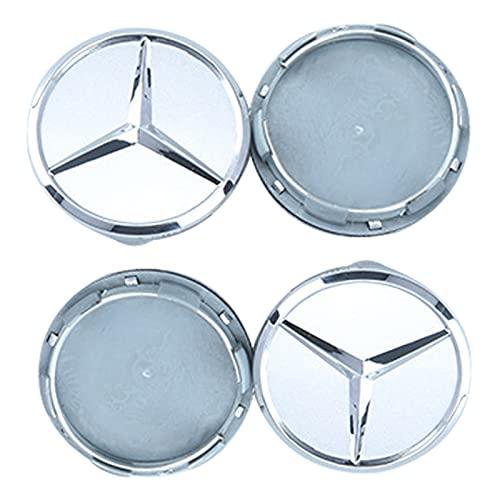 4 x Tapas Centrales De Llantas 60mm Cubiertas Central buje de Rueda Cubierta de plástico para Mercedes-Benz Ruedas Logotipo Insignia Emblema (Silver)