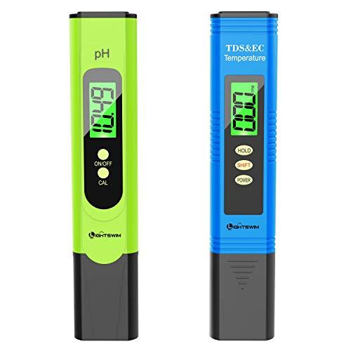 Lightswim Wasserqualitätstester mit hintergrundbeleuchtetem LCD-Bildschirm, PH-Meter mit hoher Auflösung von 0,01, 3 in 1 TDS + EC + Temperaturmesser für Trinkwasser (grün)