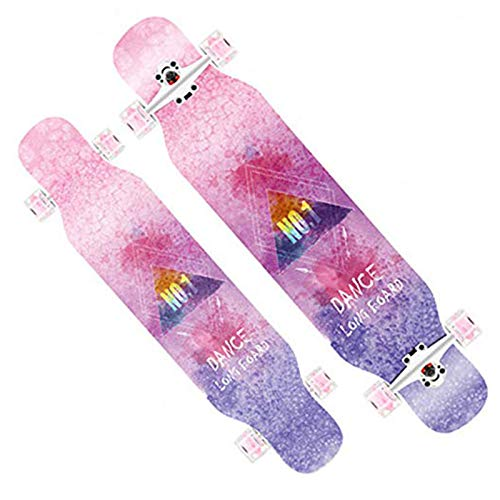 DFWYG Longboards Fuir Anfanger 42 Zoll Fancy Retro Old School Pinsel Street Drop-Through Skateboards,Kinder Mädchen Jungen Erwachsene Abec-11 Kugellager Buntem LED-Lichtrad Penny Board,Rosa, HSGAV