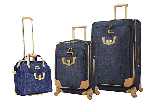 Nicole Miller 3 Piece Softside Luggage - Expandable Lightweight Suitcase Set Includes 15 Inch Under Seat Bag, 20 Inch Carry On & 28 Inch Checked Suitcase with Spinner Wheels (One Size, Paige Navy)