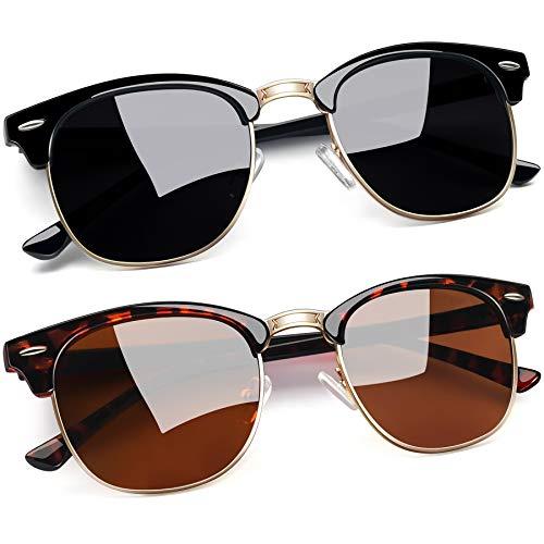 Joopin Retro Halbrahmen Sonnenbrille Herren/Damen Klassische Polarisierte Sonnenbrille mit UV400 Schutz Doppelpack Sonnenbrille