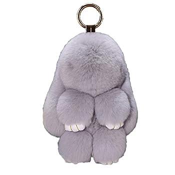 Bunny Keychain Cute Rex Rabbit Faux Fur Keychain Car Handbag Keyring 5.5in,Light gray