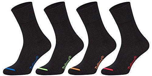Tobeni 8 Paar Damen Herren Baumwollsocken Komfortb& ohne Gummi Businesssocken Atmungsaktiv Unisex Farbe Schwarz farbige Spitze Grösse 39-42
