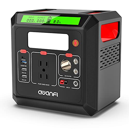 Portable Power Station, 518.4 Wh Solar Generator with 110V 500W Pure Sine Wave AC Outlets, USB-C PD Output, QC 3.0 and LED Flashlight, Backup Lithium Battery for Outdoor Home Camping RV Emergency