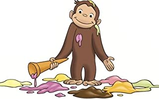 6 Inch Curious George Ice Cream Monkey Animal Removable Peel Self Stick Adhesive Vinyl Decorative Wall Decal Sticker Art Kids Room Home Decor Girl Boy Children Bedroom Nursery 6 x 3 1/2 inches Tall