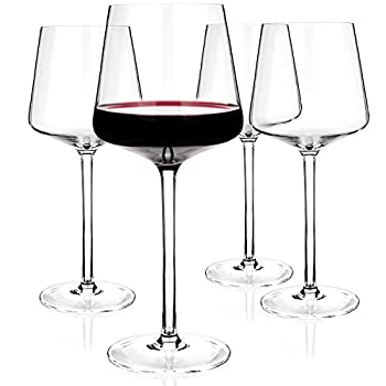 Luxbe - Crystal Wine Glasses 20.5-ounce Set of 4 - Red or White Wine Large Glasses - 100% Lead Free Glass - Pinot Noir - Burgundy - Bordeaux - 600ml