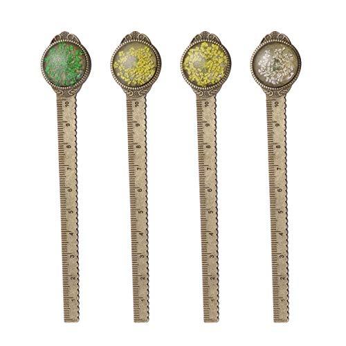 Metall Lesezeichen Lineal, 4 Stück Vintage getrocknete Blume Bronze Buchzeichen als Buch Seite Marker für Studenten (Zufällige Farbe)
