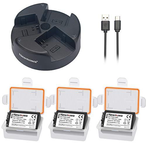 Newmowa NP-FW50 Batería de Repuesto (3-Pack) y Kit de Cargador Doble para...