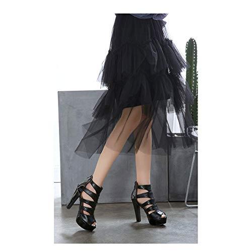 XIANWFBJ Damen High Heels, Neue Offene Sandalen Aus Lackleder, Dicke Sandalen Mit Absatz, Reißverschluss Hinten (Schwarz, Gold), Größe 34~50,Schwarz,39