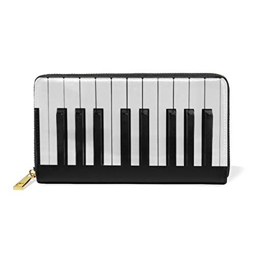 Piano toetsen, zwart/wit, portemonnee, dames, leer, lang, voor mobiele telefoon, portemonnee, cadeau voor meisjes en dames