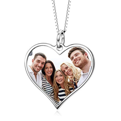 LONAGO Heart Shape Full Color Photo Personalized 925 Sterling Silver Heart Shaped Customised Picture Pendant Necklace Jewelry