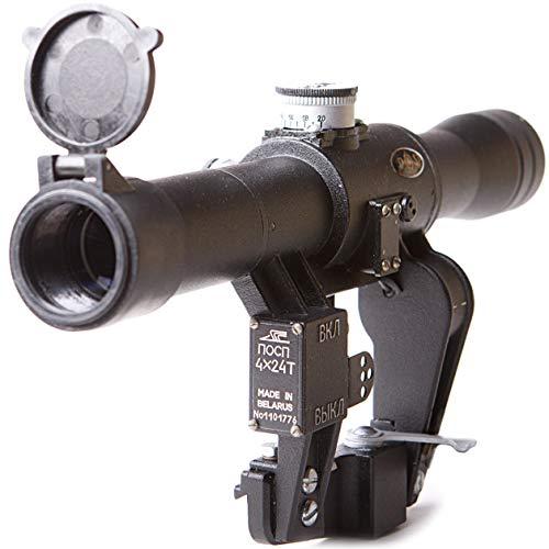 BelOMO POSP 4x24 T. Optical Rifle Scope. Russian Side Mount. 400m Rangefinder. 1 MOA. Combloc