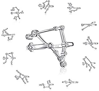 JewelryPalace Constellation Ring Zodiac Sign Capricorn Sagittarius Scorpio Libra Virgo Leo Cancer Gemini Taurus Aries Pisces Aquarius Ring Open Adjustable Stackable Ring 925 Sterling Silver