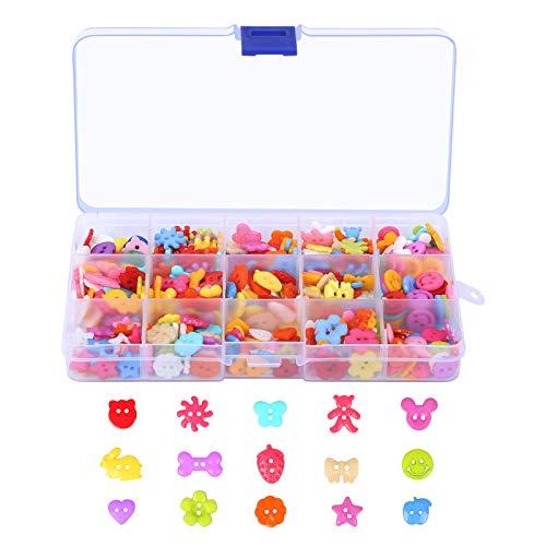 BELIOF 235 Stücke Harz Knöpfe Candy Farben Bastelknöpfe mit Aufbewahrungsbox Kunstharz Puppenknöpfe Kliene Kunstharzknöpfe zum Nähen Basteln Scrapbooking
