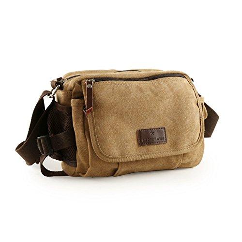 Sincere® sac d'épaule de loisirs hommes / paquet diagonale / sac extérieur / sac de sport-Kaki