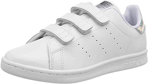 adidas Unisex-Child Stan Smith CF C Sneaker, Cloud White/Cloud White/Core Black, 35 EU