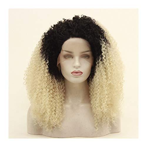 LUZIWEN Mme de mode en Europe dentelle perruque petite perruque de fil haute température perruque rouleau peut être colorant chaud (Color : 18 inches)