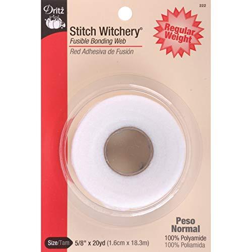 Dritz 222 STITCH WITCHERY FUSIBLE BONDING WEB WHITE REG WGHT 20YD, 5/8-Inch X 20-Yards