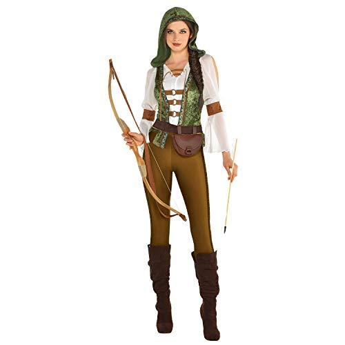 amscan 9904715 Damen Robin Hood Kostüm-Set, 1 Stück, Grün, Braun und Weiß, 16-18