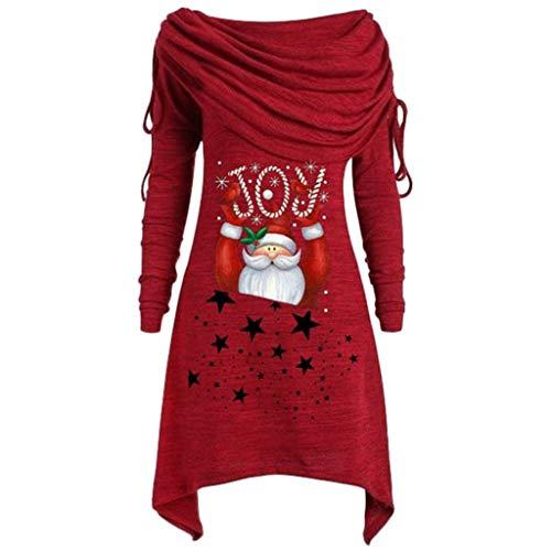 LOPILY Weihnachtspullover Damen Rollkragenpullover mit Weihnachtsmann Santa Claus Motiv Asymmetrisch Weihnachtspullis Große Größen Roter Weihnachten Wasserfallshirts Übergröße Locker (Rot, 42)