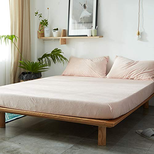 haiba Sábana bajera ajustable para cama infantil, sofá o cama, color rosa claro, 2,48 x 74 cm, 2 unidades