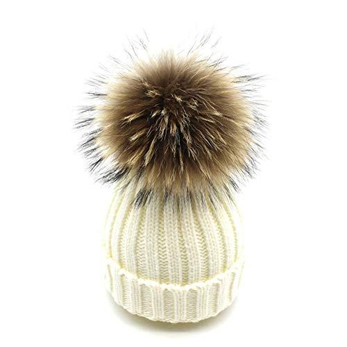 feifanshop Warm Mütze Pelz Bommel Echtpelz Waschbär Ski-Mütze Fellbommel Pelzbommel Raccoon (Weiß)