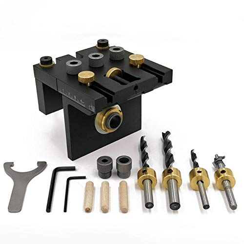 Socket Hole Fixture Kit Tool System, Three-in-One Woodworking Positioning Fixture Kit, with Positioning Clamps, Adjustable Drilling Guide Punch Locator Wwoodworking Tools