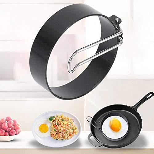 Anillos de huevos de acero inoxidable para sartenes de acero inoxidable con omelato, antiadherentes, herramientas de cocina negras (2 unidades)