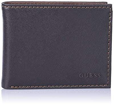 Guess Men's Leather Bifold Wallet, Brown/Red, One Size