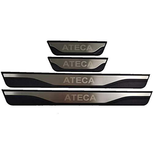 HCJGZ 4 Piezas de umbral de Puertas de Coche alfileres de umbral Adecuado para el Asiento ATECA 2016 2017 2018 2019, Faldas de la Puerta Pedal Proteger Block Protection Pegatina
