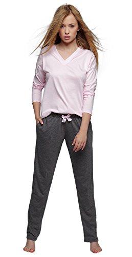 SENSIS stillvoller Baumwoll-Pyjama Schlafanzug Hausanzug aus feinem Langarm T-Shirt und bequemer Hose, rosa, Gr. L (40)
