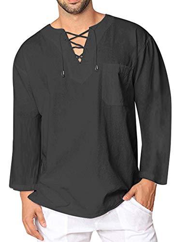 JINIDU - Camiseta de algodón y Lino para Hombre