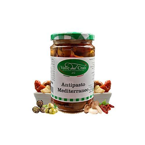 Antipasto Mediterraneo In Olio di Oliva, Antipasto Pomodori Secchi Olive Verdi Funghi Peperoncino Calabrese , Prodotto Tipico Calabria , Vasetto (290 gr)